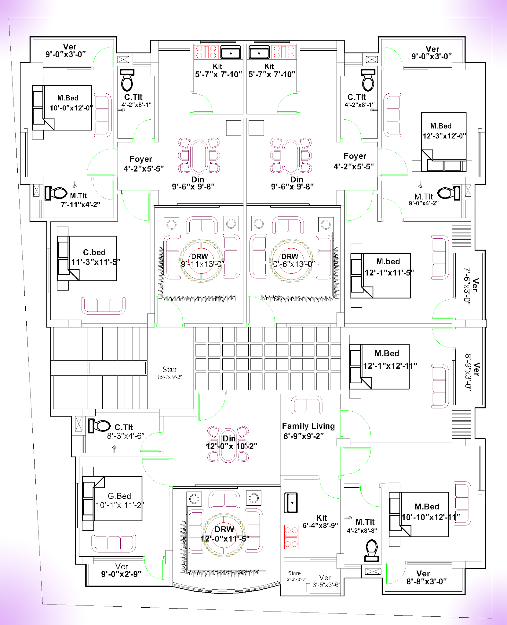 3 Unit Floor Plan