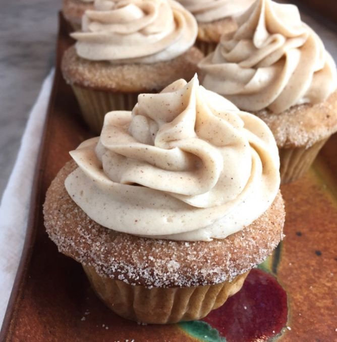 Churro Cupcakes with Cinnamon Cream Cheese Frosting