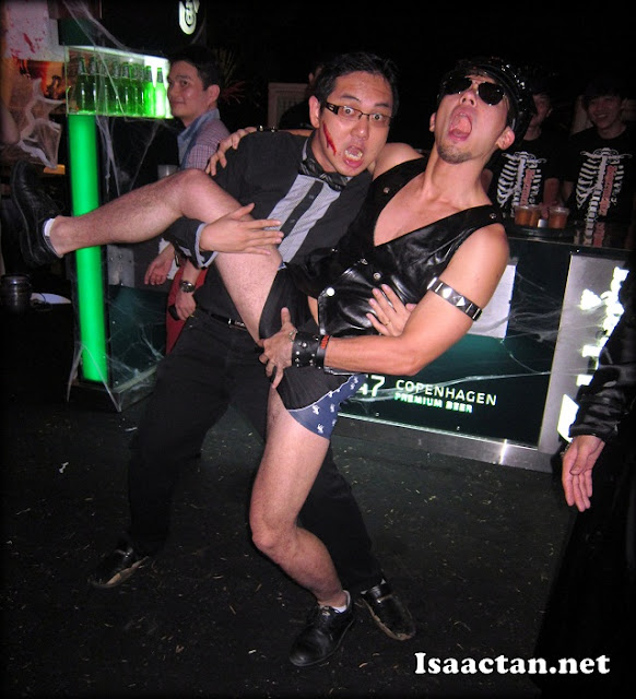 "Isaac with ""HardGay"" over at Jagermeister Halloween Party"