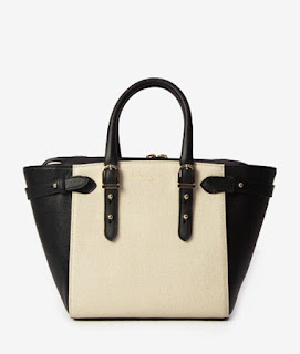 black and white leather top hand bag