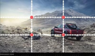 صورة سيارة مقسمة ثلاثة أثلاث لشرح قاعدة الأثلاث
