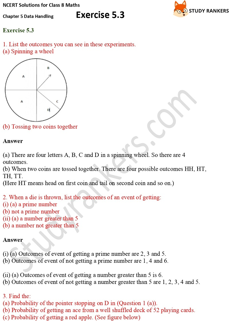 NCERT Solutions for Class 8 Maths Ch 5 Data Handling Exercise 5.3 1