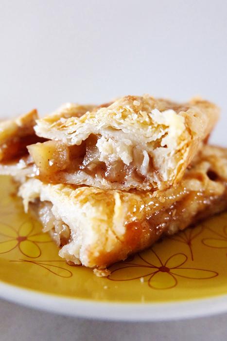 closer view of slab pie slices
