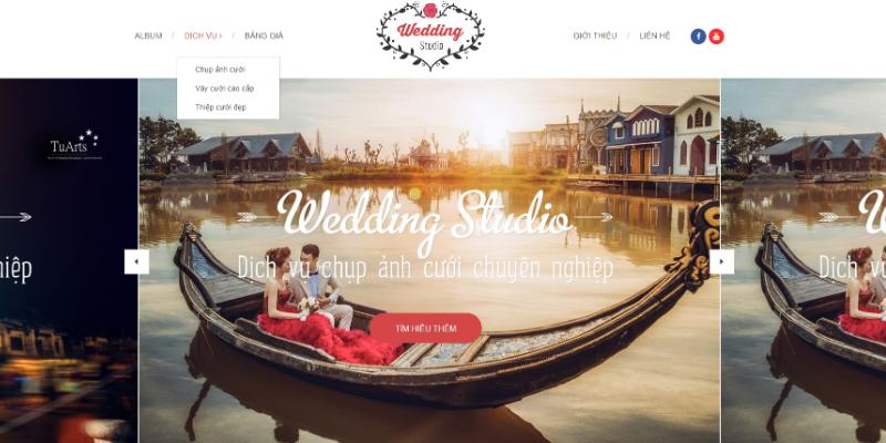 Mẫu website wedding studio áo cưới