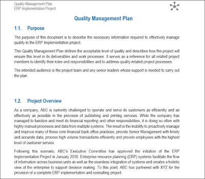 Quality Management Plan, quality management