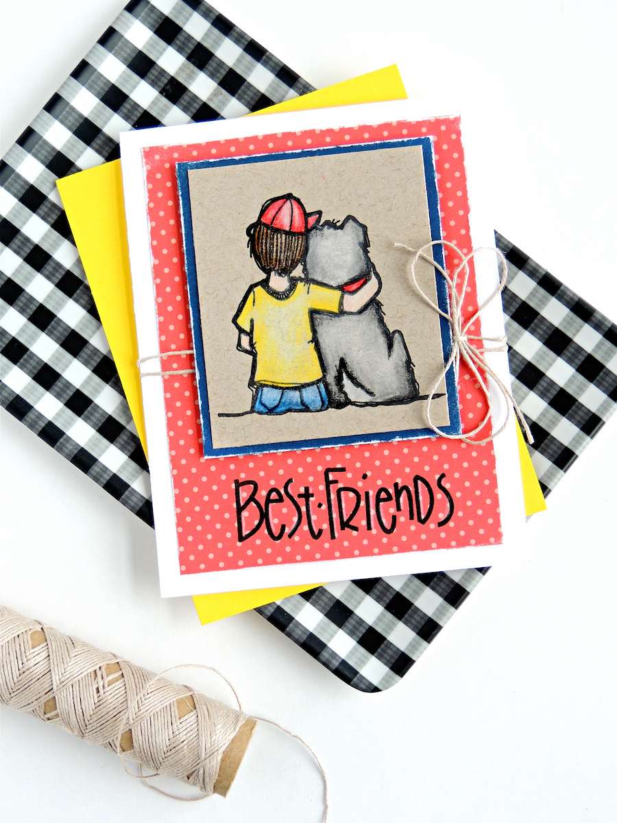 Try this handmade card idea with stamps from Impression Obsession. This stamped image of a boy and his dog is so sweet for cardmaking and crafts.
