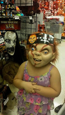 chicky mask, 3 year old in chicky mask, party city mask, halloween mask, halloween chucky mask