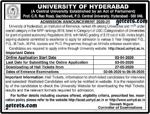 HCU pg entrance exam 2021-2022 hcu pgcet notification