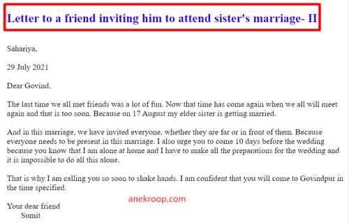 letter to a friend inviting him to attend sister's marriage-II