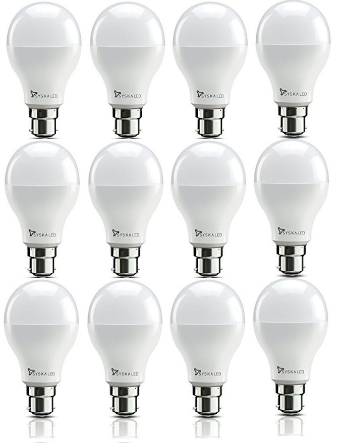 Rs,847/- Syska SSK-SRL-9W-Base B22 9-Watt Unbreakable LED Bulb (Pack of 12, Cool Day Light) (Cool Day Light)