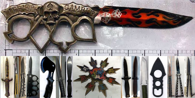 Knives, hatchet and throwing star.