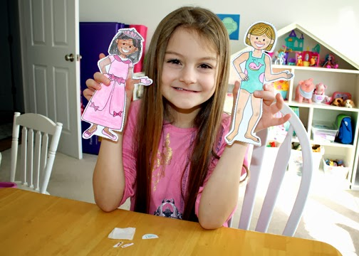 Then, she colored and dressed a paper doll appropriately for a party to demonstrate how to respect herself and others. I colored and dressed the paper doll on the right to show how not to look. Tessa really got a kick out of that.