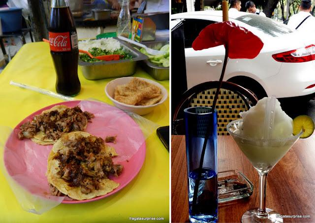 Carnitas, prato popular típico do México, e marguerita, dinque típico