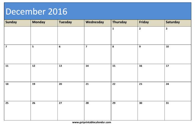 Printable Calendar 2016: December 2016 Printable Blank Calendar ...