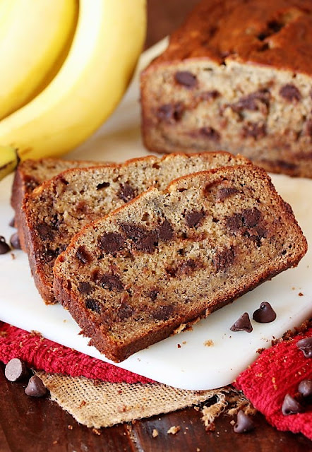 Slice of Banana Bread with Chocolate Chips Image