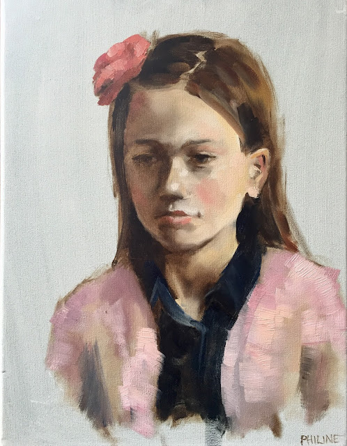 child portrait from life in oil by Philine van der Vegte