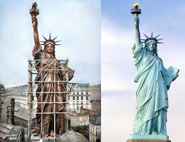 so sánh Tượng nữ thần tự do nguyên bản và hiện tại