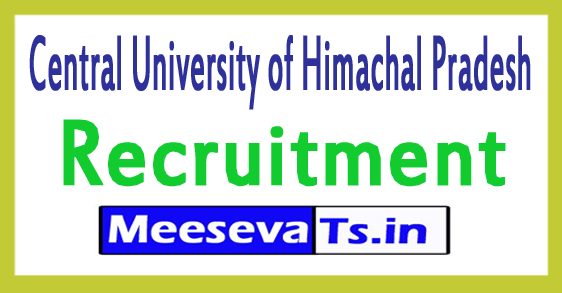 Central University of Himachal Pradesh CUHP Recruitment Notification 2017