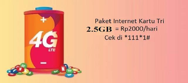 Cara Daftar Paket Internet Tri Rp 2000 2.5 GB Terbaru