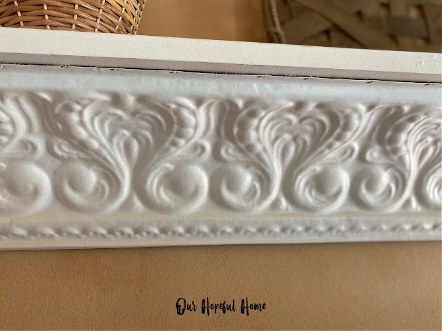 scrolly detail pressed tin shelf