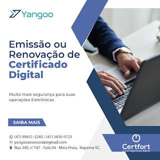 Documentos Necessários para Emissão de Certificado Digital (Pessoa Física CPF e CNPJ Empresas) - Yangoo Certfort (em Itapema SC)