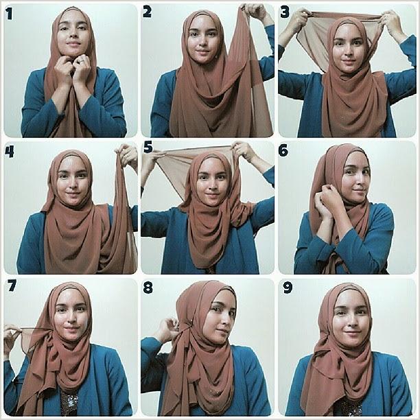Tutorial Hijab Pashmina Bahan Sifon Baju Mewah