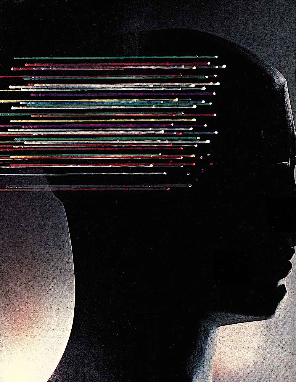 a 1968 illustration about the human brain and thoughts