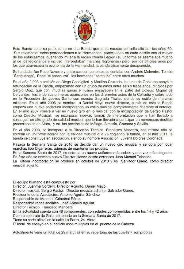 La Banda de Cornetas y Tambores Dolores Coronada de Álora abrirá la procesión de la Paloma