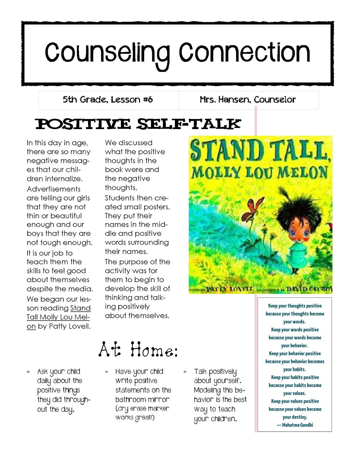 Hanselor The Counselor 5th Grade Lesson