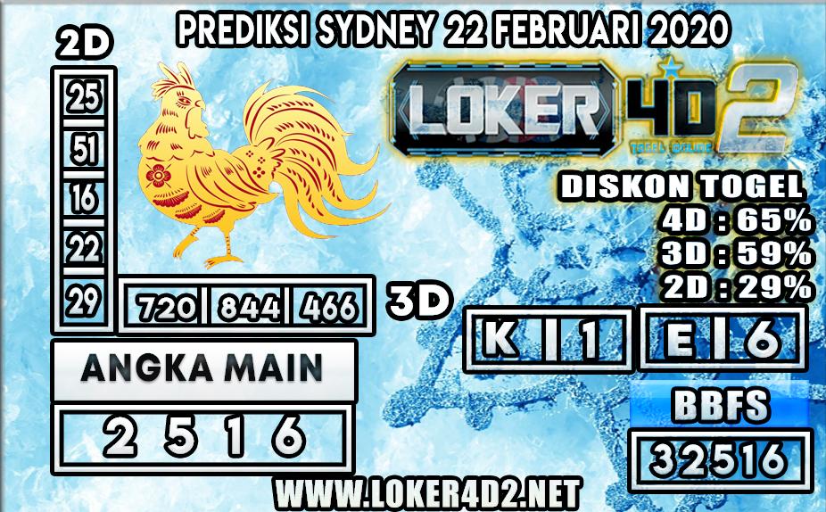 PREDIKSI TOGEL SYDNEY LOKER4D2 22 FEBRUARI 2020