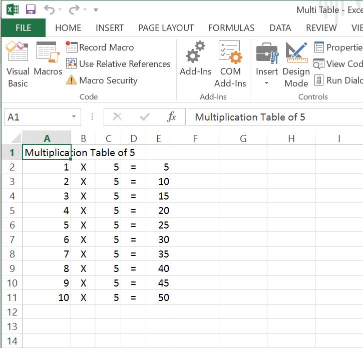 Excel Macro Vba Exercise 01 Multiplication Table Excel Macro Vba
