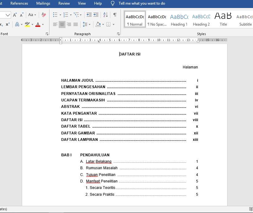 Cara Membuat Daftar Isi Untuk Skripsi Otomatis Di Ms Word Mediasiana Com Media Pembelajaran Masakini