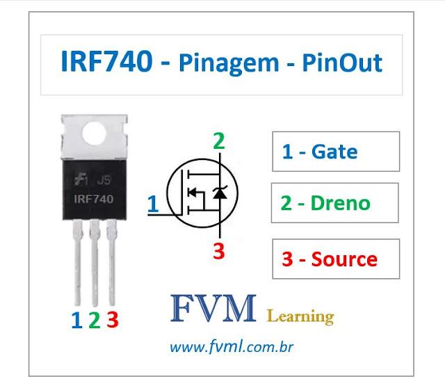 Pinagem - Pinout - Transistor Mosfet - NPN - IRF740 - Características
