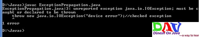 Exception propagation Java