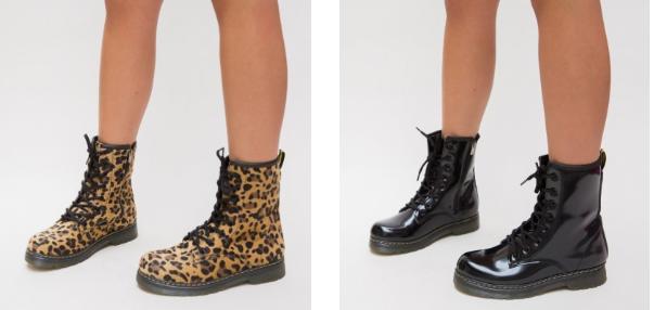 Ghete de fete moderne negre, leopard print inalte la moda 2019