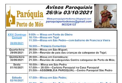 Avisos Paroquiais - 26 de Setembro a 3 de Outubro de 2021