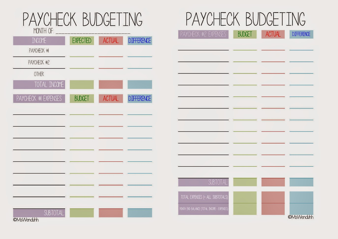 Mswenduhh Planning Amp Printable Paycheck Budgeting Printable