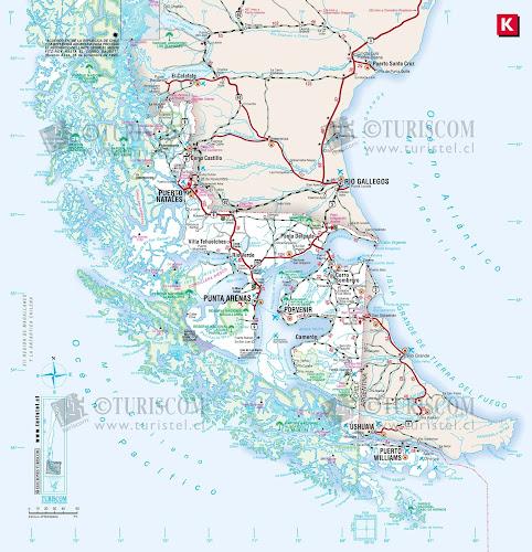 Mapa do Chile – Região 12 - Magallanes e Antártica