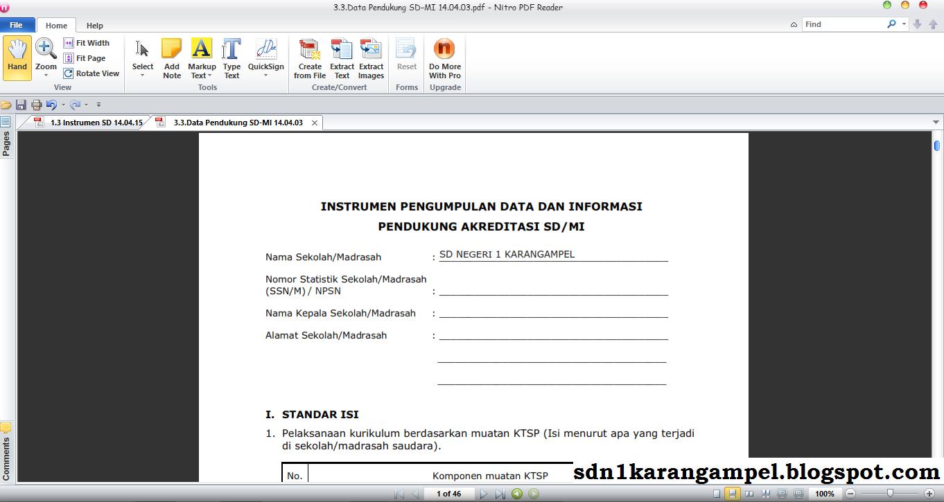 CARA MUDAH MENGISI PERANGKAT INSTRUMEN DAN DATA PENDUKUNG AKREDITASI SEKOLAH BENTUK PDF