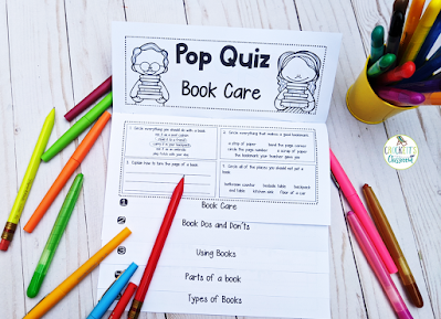 This simple to make flap book will help your kids learn about the care of a book.  It also introduces the types of books and the parts of a book.  Great activity for the beginning of the school year.