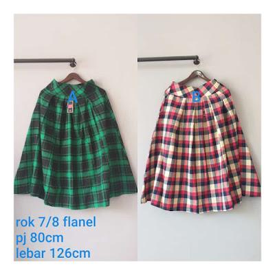 rok flanel import warna hijau cantik