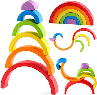Open-Ended Play Wooden Rainbow Stacker