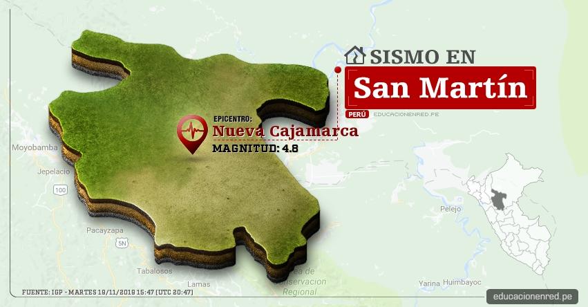 Temblor en San Martín de Magnitud 4.8 (Hoy Martes 19 Noviembre 2019) Sismo - Epicentro - Nueva Cajamarca - Alto Mayo - Rioja - Calzada - Moyobamba - IGP - www.igp.gob.pe