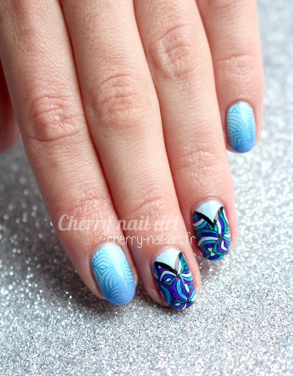 nail-art-stamping-géométrique-marqueur-dégradé