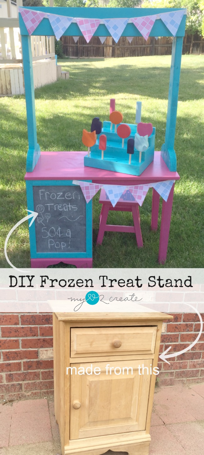 Build a fun DIY Play Frozen Treat Stand for your kids this summer!  Full picture tutorial at My Love 2 Create.
