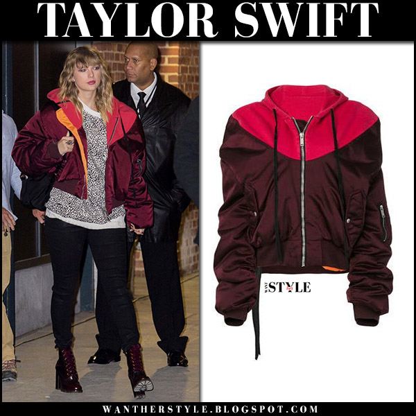 Taylor Swift in burgundy red bomber unravel jacket at Reputation after party street fashion celebrity november 14 2017