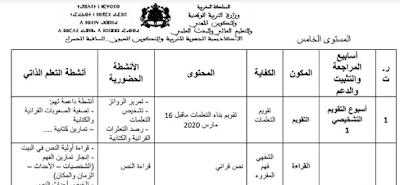 مضامين-الأنشطة-الحضورية-و-أنشطة-التعلم-الذاتي-خلال-اسابيع-التقويم-التشخيصي-و-الاستدراك-المستوى-الخامس-عربية