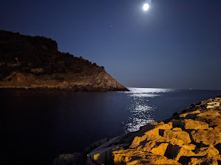 Channel between Palmaria and Porto Venere at night with moon