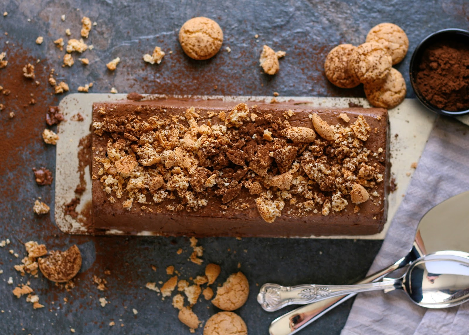 Dark chocolate semifreddo with amaretti biscuits.