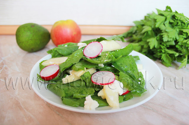 рецепт салата с крессом, редисом и сыром фета с пошаговыми фото
